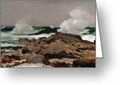 Usa Painting Greeting Cards - Eastern Point Greeting Card by Winslow Homer