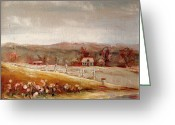 Autumn In The Country Painting Greeting Cards - Eastern Townships Quebec Painting Greeting Card by Carole Spandau