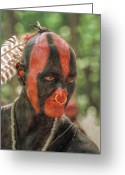 Mohawk Greeting Cards - Eastern Woodland Indian Portrait Greeting Card by Randy Steele