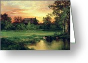 Hudson River School Greeting Cards - Easthampton Greeting Card by Thomas Moran