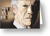 Academy Award Greeting Cards - Eastwood Greeting Card by Mike  Haslam