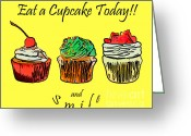 Logos Greeting Cards - Eat A CupCake Today . And Smile Greeting Card by Wingsdomain Art and Photography