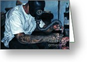 Tattoo Pastels Greeting Cards - Eat Da Fyah Greeting Card by Noble Richardson