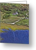 Aerials Greeting Cards - Eat Fire Spring Road Polpis Nantucket Island  Greeting Card by Duncan Pearson