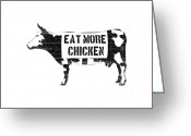 Street Art Greeting Cards - Eat more chicken Greeting Card by Pixel  Chimp