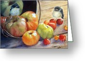 Baby Birds Greeting Cards - Eat your veggies Greeting Card by Patricia Pushaw