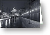 Tor Greeting Cards - Ebertstrasse and the Brandenburg Gate Greeting Card by Pierre Logwin