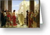 Leopard Greeting Cards - Ecce Homo Greeting Card by Antonio Ciseri