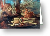 Poussin Greeting Cards - Echo And Narcissus Greeting Card by Granger