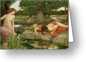 John William Waterhouse Greeting Cards - Echo and Narcissus Greeting Card by John William Waterhouse