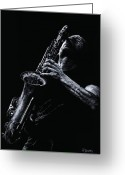 Man Pastels Greeting Cards - Eclectic Sax Greeting Card by Richard Young