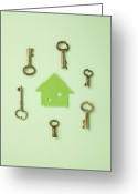 Vintage Key Greeting Cards - Eco House And Keys Greeting Card by sozaijiten/Datacraft