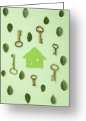 Vintage Key Greeting Cards - Eco House Surrounded With Leaves And Keys Greeting Card by sozaijiten/Datacraft
