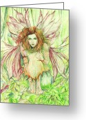 Fantasy Art Greeting Cards - Edana The Fairy Collection Greeting Card by Morgan Fitzsimons