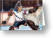 Hall Greeting Cards - Eddie Giacomin Greeting Card by Dave Olsen