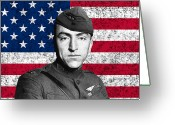 Us Air Force Greeting Cards - Eddie Rickenbacker and The American Flag Greeting Card by War Is Hell Store