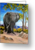 African Mountain Greeting Cards - Eddy Elephant Greeting Card by Jamie Frier