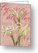 Summer Garden Greeting Cards - Eden Blush Lilies 1 Greeting Card by Debbie DeWitt