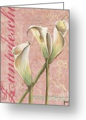 Blossom Painting Greeting Cards - Eden Blush Lilies 2 Greeting Card by Debbie DeWitt