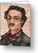 Raven Drawings Greeting Cards - Edgar Allan Poe after the Thompson daguerreotype Greeting Card by Nancy Mitchell