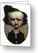 Edgar Greeting Cards - Edgar Allan Poe Greeting Card by Court Jones