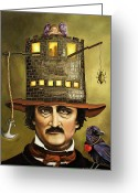 Hat Greeting Cards - Edgar Allan Poe Greeting Card by Leah Saulnier The Painting Maniac