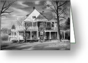 Haunted Home Greeting Cards - Edgar Home BW Greeting Card by Kip DeVore