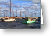 Martha Greeting Cards - Edgartown Harbor Greeting Card by Gina Cormier