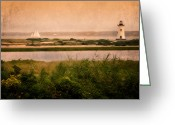 Scenic New England Greeting Cards - Edgartown Lighthouse Greeting Card by Bill  Wakeley
