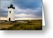 Cape Cod Mass Photo Greeting Cards - Edgartown Lighthouse Cape Cod Greeting Card by Matt Suess