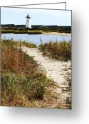 Martha Greeting Cards - Edgartown Lighthouse Greeting Card by Carol Groenen