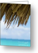 Sun Umbrella Greeting Cards - Edge of a sun umbrella straw with blue waters in the background Greeting Card by Sami Sarkis