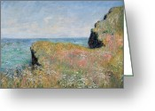 Sea Flowers Greeting Cards - Edge of the Cliff Pourville Greeting Card by Claude Monet