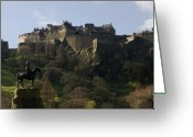 November Sunset Greeting Cards - Edinburgh Castle Greeting Card by Mike Lester