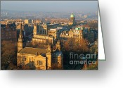 Birds Eye View Greeting Cards - Edinburgh on a Winters Day Greeting Card by Christine Till