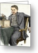 Thomas Edison Greeting Cards - Edison And His Phonograph Greeting Card by Sheila Terry