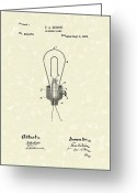 Thomas Edison Greeting Cards - Edison Electric Lamp 1882 Patent Art Greeting Card by Prior Art Design
