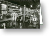 Pioneer Park Greeting Cards - Edisons Menlo Park Lab Greeting Card by Science Source