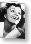 Women Greeting Cards - Edith Piaf Greeting Card by Granger