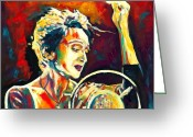 Singer Songwriter Greeting Cards - Edith Piaf- La Mome Greeting Card by Vel Verrept