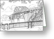 March Drawings Greeting Cards - Edmund Pettus Bridge Greeting Card by Barney Hedrick