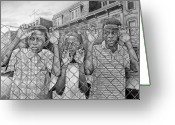 Streets Drawings Greeting Cards - Education Is The Way Out Greeting Card by Curtis James