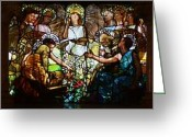 Stained Glass Glass Art Greeting Cards - Education Greeting Card by Pg Reproductions