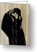 Norwegian Greeting Cards - Edvard Munch: The Kiss Greeting Card by Granger