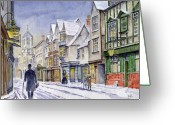 December Painting Greeting Cards - Edwardian St. Aldates. Oxford UK Greeting Card by Mike Lester