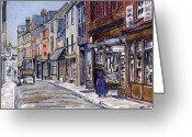 Urban Watercolour Greeting Cards - Edwardian St.Ebbes Oxford Greeting Card by Mike Lester