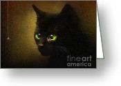 Kitty Digital Art Greeting Cards - Eensy Weensy Greeting Card by Robert Foster