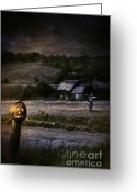 Omnimous Greeting Cards - Eerie night scene with Halloween pumpkin on fence Greeting Card by Sandra Cunningham
