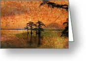 Cypress Digital Art Greeting Cards - Eerie Sunrise  Greeting Card by J Larry Walker