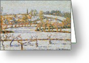 Snow On Field Greeting Cards - Effect of Snow at Eragny Greeting Card by Camille Pissarro